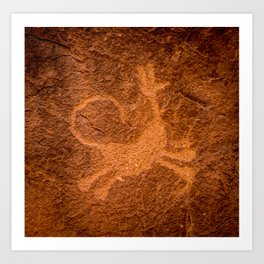 Howling Coyote Petroglyph - Moab, Utah Art Print