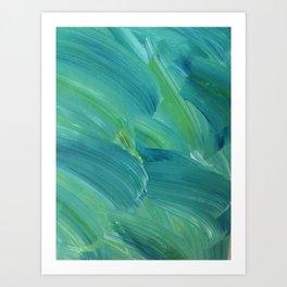 Blue-Green Brush Strokes Art Print