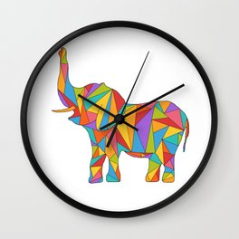 Big, bright, and colorful elephant - polychromatic animal Wall Clock