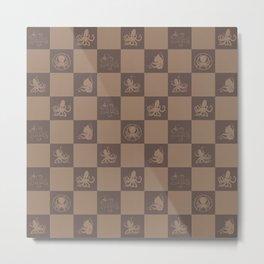 Checkered  octopus art print Metal Print
