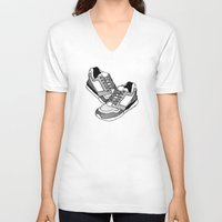 sneakers V-neck T-shirts featuring Sneakers by Addison Karl