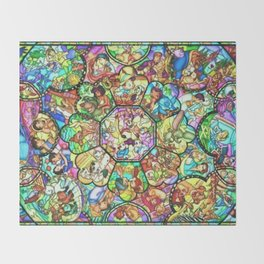 Mickey Mouse and Friends - Stained Glass Window Collage Throw Blanket