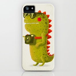 Dino touristo (olive) iPhone Case