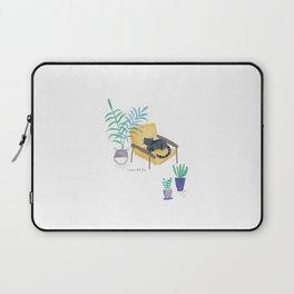 black cat in yellow chair scandi interior Laptop Sleeve