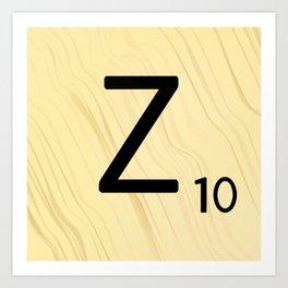 Scrabble Z Initial - Large Scrabble Tile Letter Art Print