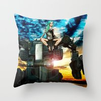 heavy metal Throw Pillows featuring Heavy Metal by Danielle Tanimura