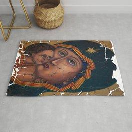 Mother Of God Fresco Icon  Rug