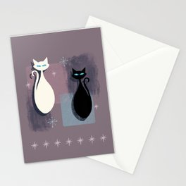 Jazzy Midcentury Modern Black And White Abstract Cats Stationery Cards