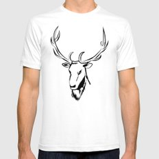 Ciervo negro White Mens Fitted Tee SMALL