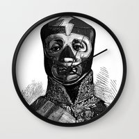 wrestling Wall Clocks featuring WRESTLING MASK 10 by DIVIDUS