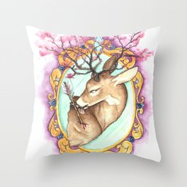 Trophy: Abstract Mounted Deer Throw Pillow