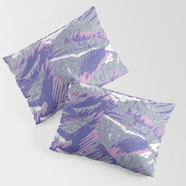 Lovely lino printing in pink, purple, white and grey Pillow Sham