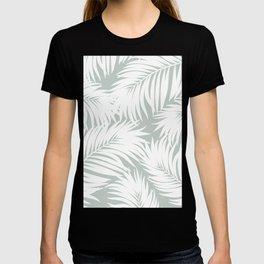 Palm Tree Fronds White on Rainwashed Maui Hawaii Tropical Graphic Design T-shirt