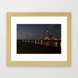 Nightfall at the harbor Framed Art Print