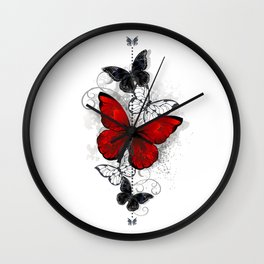 Red and Black Butterflies Wall Clock