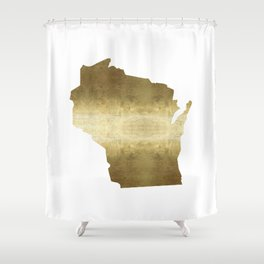 wisconsin gold foil state map Shower Curtain