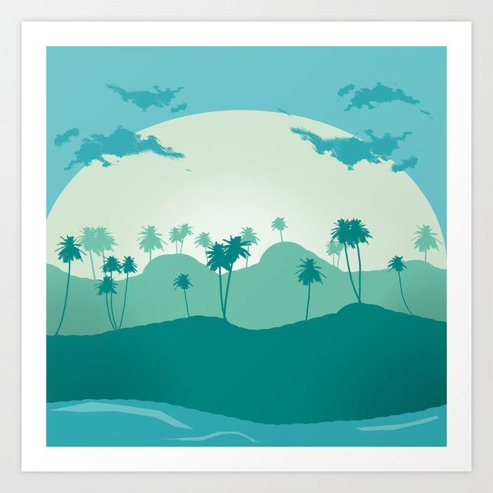 Lonely palms on tropic beach Art Print