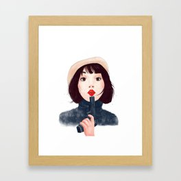 French woman with gun Framed Art Print