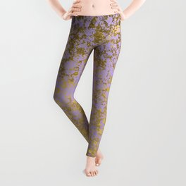 Lavender and Gold Patina Design Leggings