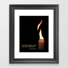 A Candle Against The Dark Framed Art Print