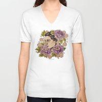 bjork V-neck T-shirts featuring Bjork by alxbngala