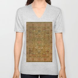 Persian 19th Century Authentic Colorful Muted Green Yellow Blue Vintage Patterns Unisex V-Neck