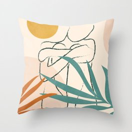 Minimal Line in Nature I Throw Pillow