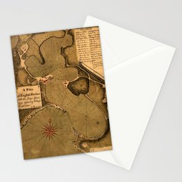 Map Of Antigua 1745 Stationery Cards