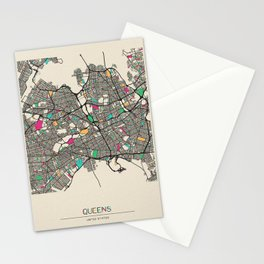 Colorful City Maps: Queens, New York Stationery Cards