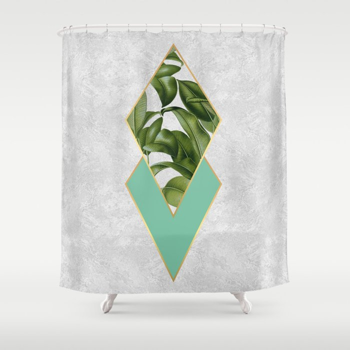 Leaves on marble Shower Curtain