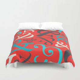 Amped Up Red Ampersand Pattern Duvet Cover