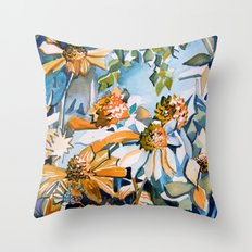 Carnival of Daisies Throw Pillow