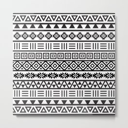 Aztec Influence Pattern Black on White Metal Print