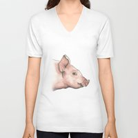 pig V-neck T-shirts featuring Pig by Marta Bocos
