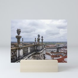 View from the rooftop of Cathedral of Evora on a cloudy day. Mini Art Print