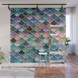 Multicolor Pink And Aqua Mermaid Scales - Beautiful Abstract Glitter Pattern Wall Mural