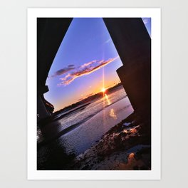 Moving Tide at Sunset under the Casco Bay Bridge Art Print