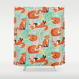 Little Foxes in a Fantasy Forest on Blue Shower Curtain