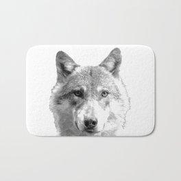 Black and White Wolf Bath Mat