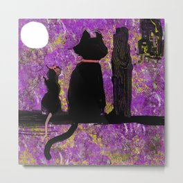 Cat with the Rat in the Hat Metal Print