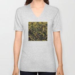 Midnight Black Marble with Gold Glitter Veins Unisex V-Neck