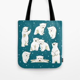 Cute Polar Bear Cubs Tote Bag