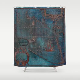 Antique Map Teal Blue and Copper Shower Curtain
