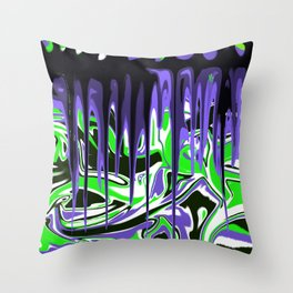 Abstract in Green, Black, White, Blues, Purple Throw Pillow