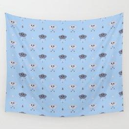 Kawaii Cute Rain Cloud Pattern in Light Blue Wall Tapestry
