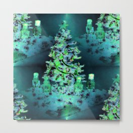 Blue/Green Yule Tree Metal Print