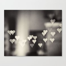 Hearts Abstract Photography, Black and White Love Heart Art Print Canvas Print