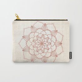 Mandala Bloom Rose Gold on Cream Carry-All Pouch