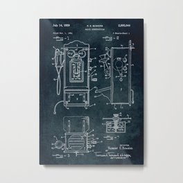 1954 Radio construction patent art Metal Print