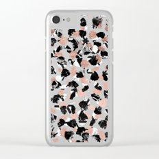 Modern faux rose gold marble brushstrokes dots pattern Clear iPhone Case